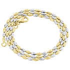 10K Two Tone Gold 2MM Typhoon Moon Cut Italian Bead Chain Necklace 16 - 24 Inch