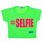 Girls #Selfie Short Sleeve Crop Top Kids Fashion Party Tops Neon Green 7-13 Year