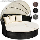 Poly Rattan Daybed Garden Furniture Outdoor Sofa Sun Lounger Patio Roof Table