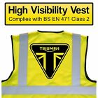 TRIUMPH Hi Viz Vest, MOTORCYCLE High Visibility, Safety HV Yellow