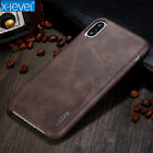 Luxury Vintage Genuine Leather Slim Back Case Cover For iPhone X SE 6S 7 8 Plus