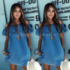 Ladies Sleeveless Party Tops Womens Loose Summer Beach Lace Mini Dress UK6-14 N1