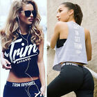Women Casual Letter Printed Sleeveless Crewneck T-shirt Camisole Tanks Top