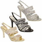 Ladies Womens Diamante Open Toe Mid Heel Ankle Sandals Shoes By Kelsi