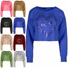 Women Oversized Cuff Full Sleeve Love Heart Ladies Raw Edges Tee Shirts Top