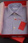 KITON NAPOLI Hand Made Blue Striped Fitted Dress Shirt NEW 2014