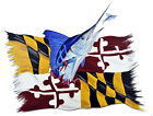 Marlin and Maryland State Flag Decal Sticker - Auto Car Truck RV Cell Cup Boat