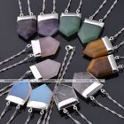 Sword Head Square Gemstone Healing Point Chakra Pendant With Chain Necklace Gift