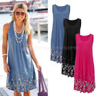 BOHO Ladies Sleeveless Party Tops Womens Summer Beach Swing Dress UK Size 8-16 N