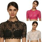 Ladies Women O Neck Short Sleeve Sexy Floral Slim Mini Lace Crop Tops K0E1
