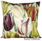 Sanderson Early Tulips Aubergine & Cherry Floral Cushion Cover