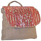 Eco Friendly Sequins Womens Jute and Cotton Daypack Bacpack