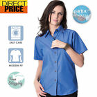 Women Shirt Top Blouse Easy Care Indigo Blue short sleeves Business Casual fit