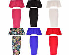 Women Off Shoulder Boobtube Frill Bralet Bra Top Ladies Midi Skirt 2 Suit Dress
