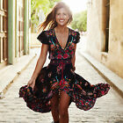 CHIC Women Summer Vintage Boho Long Maxi Party Beach Dress Floral Sundress Black