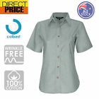 Ladies Womens Chambray Blouse Shirts Business Short Sleeve Cotton Office Green
