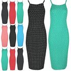 Ladies Stretchy High Square Neck Bodycon Womens Polka Dots Pencil Fit Midi Dress