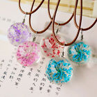 1X Colourful Handmade Glass Ball Flower Necklace Leather Chain Dandelion Pendant