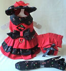 Fantastic Designer Dog Harness Dress, Hat, Leash, Panty BLACK CHERRY- XSMALL