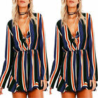 Striped Long Sleeve Women Ladies Sexy V neck Loose Cotton Jumpsuit Rompers Short