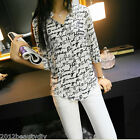 Fashion Women Casual Shirt Print Down Collar Chiffon Blouse Tops S/M/L/XL