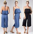 SLEEVELESS RUFFLE WIDE LEG JUMPSUIT Romper Pants Gaucho Loose Fit Bohemian S M L