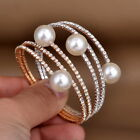 Fashion Women Girl Faux Pearl Crystal Rhinestone Charm Bracelet Open Cuff Bangle