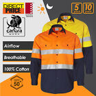 5 10 Pack Hi Vis Shirts Work Shirts Safety 3M Tape Cotton Drill Light VENTILATED