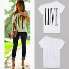 Summer Womens Hot Letter Print Short Sleeve White Tops T-Shirt Love Blouse