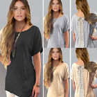 Women Sexy T-Shirt Short Sleeve Slit Blouse Casual Back 8Bow Lace Long Tops