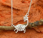 Turtle Necklace-. 925 Sterling Silver Rhodium Plated Cute Jewelry Gift Idea!!!