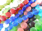 Внешний вид - 3 Strands 15mm Coin Sea Glass Frosted Beads You Pick Color