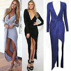 Women Long Sleeve Deep V Plunge Split Asym Hem Cocktail Clubwear Maxi Dress New
