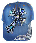 Faith Inspirational Cross Clear Rhinestone Cap Hat Stud Distressed 100% Cotton
