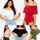 Womens Ladies Bardot Off Shoulder Sleeveless Frill Bodysuit Leotard Top 8- 14 AU