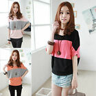 CH Fashion Women Casual Blouse T-shirt Striped Half Bat Sleeve Tops Plus Size