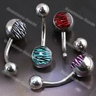 14g Zebra Stripe Ball Navel Belly Curved Barbell Rings Stainless Steel Piercing