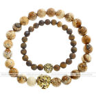 8mm Chakra Healing Gems No Spacer Ball Bead Gold Lion Head Elastic Bracelet Gift