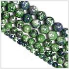0071 Natural beads round beads strand Blue and green Rain-flower pebbles