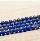"""0072 Natural 6mm-10mm Blue Emperor Stone Round Beads 16"""""""