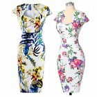 Sexy Women Ladies Floral Prints Bodycon Midi Dress Formal Evening Party Ball