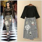 2016 New Fashion Milan Popular High-End Black Lace Top+Grid Embroidered Skirt