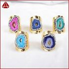 Similar 1Pcs Gold Plated Rainbow Agate Druzy Band Ring & Paved Zircon QJA213