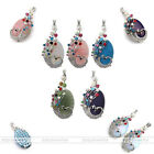 Colorful Oval Rhinestone Beads Metal Peacock Wrap Gems Pendant for DIY Necklace