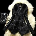 New Designer Women Warm Fur Collar Coat Leather Thick Jacket Overcoat Parka
