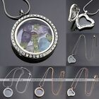 Living Memory Floating Charms Crystal Round Heart Glass Locket Pendants Necklace