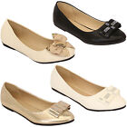 Ladies Womens Flat Glitter Ballerina Pumps Slip On Studded Bow Shoes By Kelsi