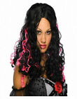 Long Black and  Pink Curly Gothic Party Costume Wig