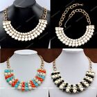Fashion Round Beads Acrylic Crystal Choker Statement Necklace Boho Elegant Gift