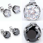 Pair Gothic Cubic Zirconia Crystal Flower Stainless Steel Ear Stud Earrings